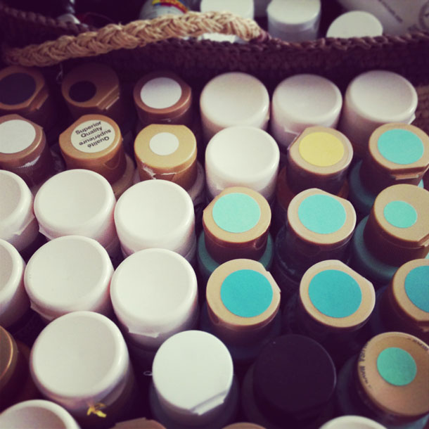 packing paint supplies.