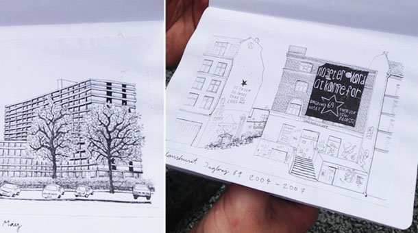sketchbook project: architectural drawings