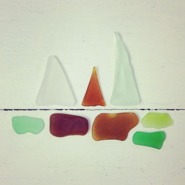 beach finds: sailboats  |  sea glass