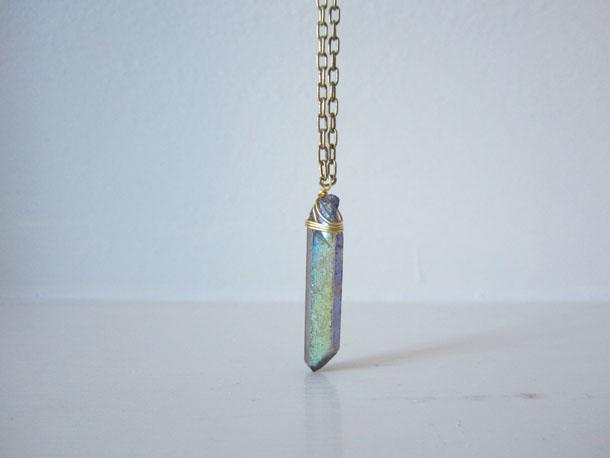 quartz crystal necklace by bird + beau
