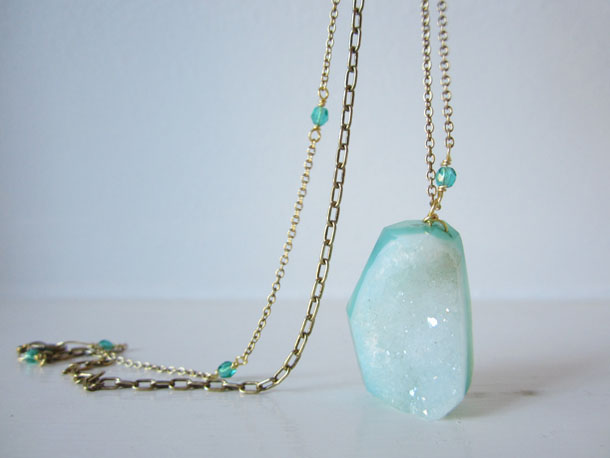 crystal druzy necklace by bird + beau
