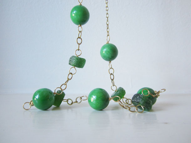 emerald jade + recycled glass necklace by bird + beau