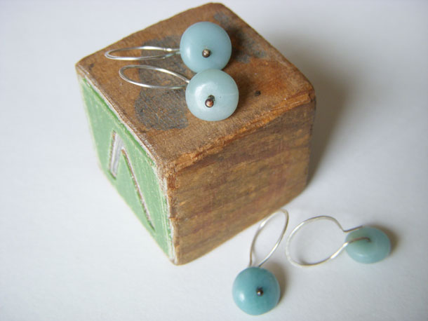 handmade amazonite disc earrings