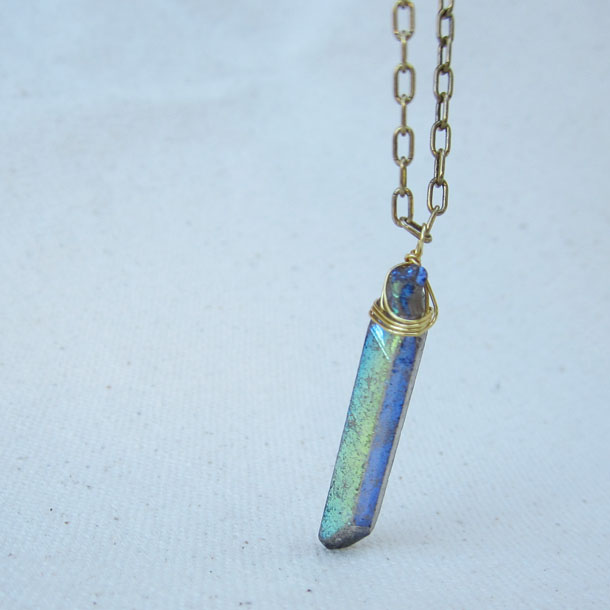 crystal point long layering necklace