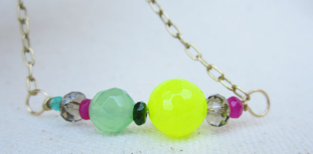 neon bracelet with brass chain by b+b