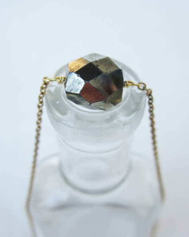faceted pyrite delicate layering necklace