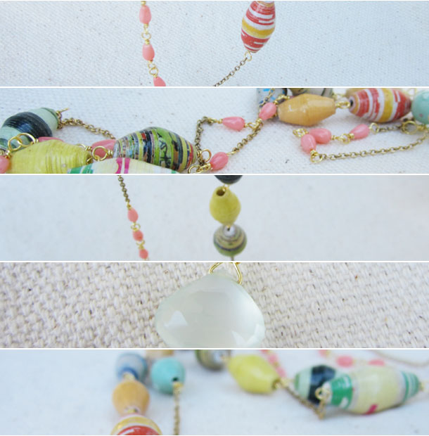 recycled paper necklace made with beads from uganda