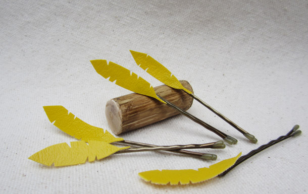 yellow feather hair pins by bird + beau