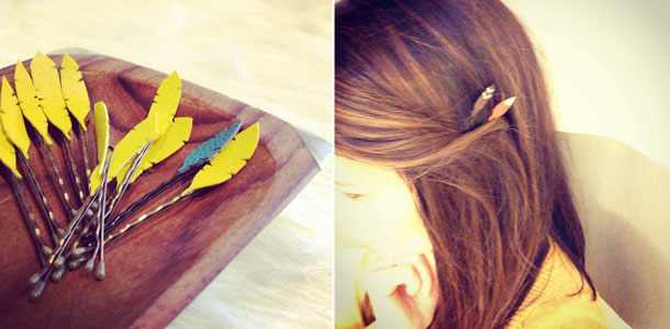 handcut feather hair accessories