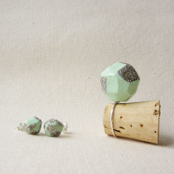 POP collection: mint + glitter recycled cork jewelry set by bird + beau