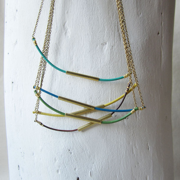 multi-color hexi necklaces by bird + beau