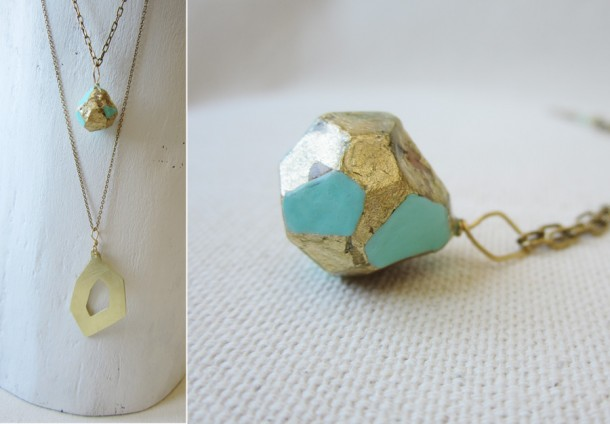 layered faceted necklaces by bird + beau