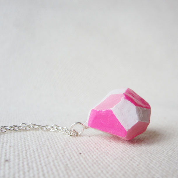 POP pink faceted charm necklace by bird + beau