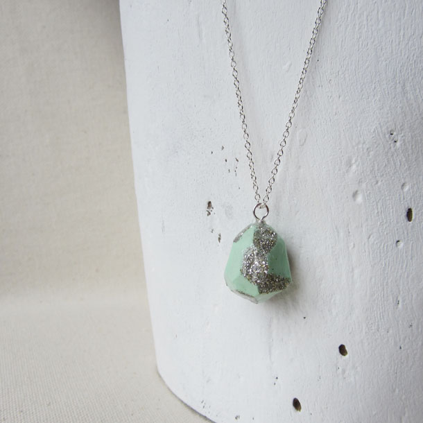 POP mint glitter necklace by bird + beau