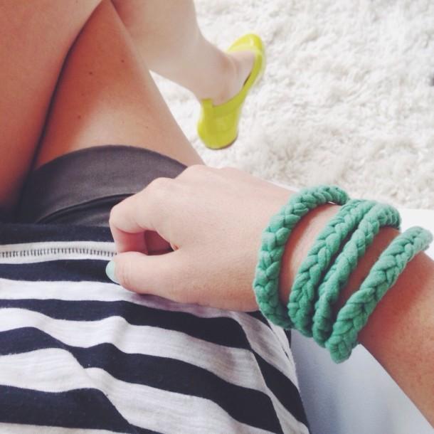 recycled tee bracelet