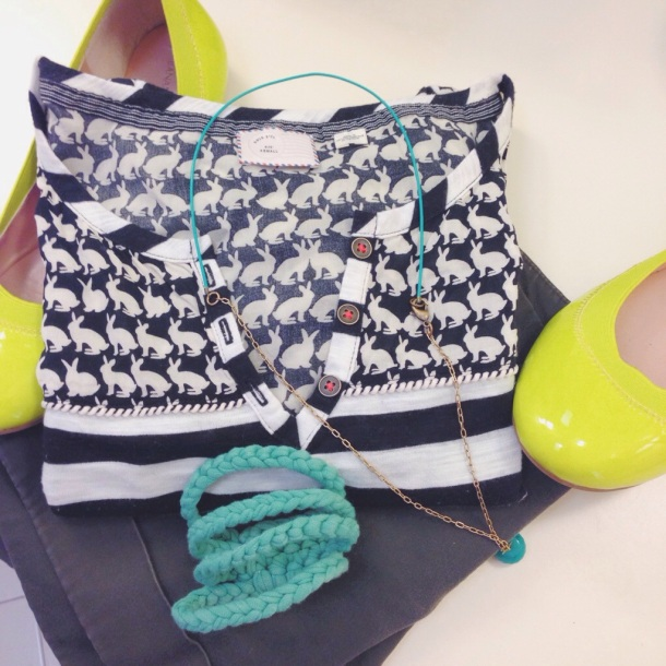 style me: anthropologie bunnies + br neon flats