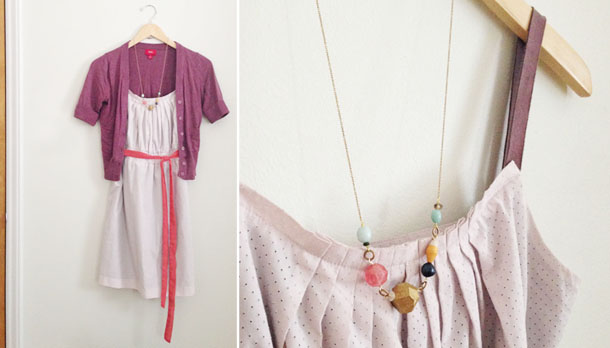 heap to keep style challenge: gap dress and bird + beau necklace