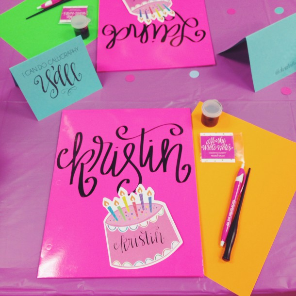 all she wrote notes birthday and calligraphy class at ply