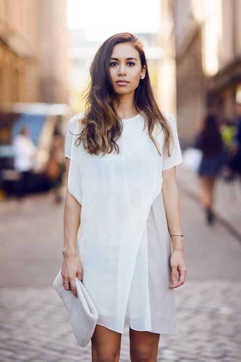 modern white boho dress
