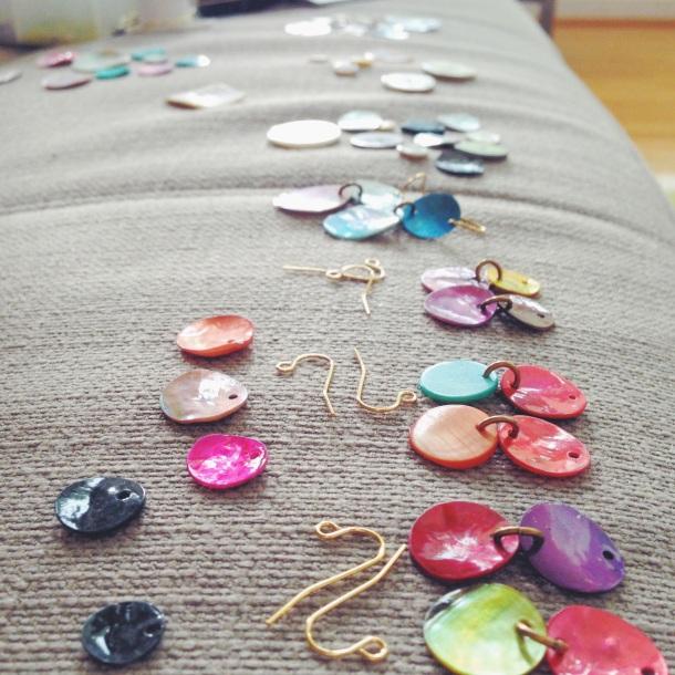 sneak peek at new shell earrings