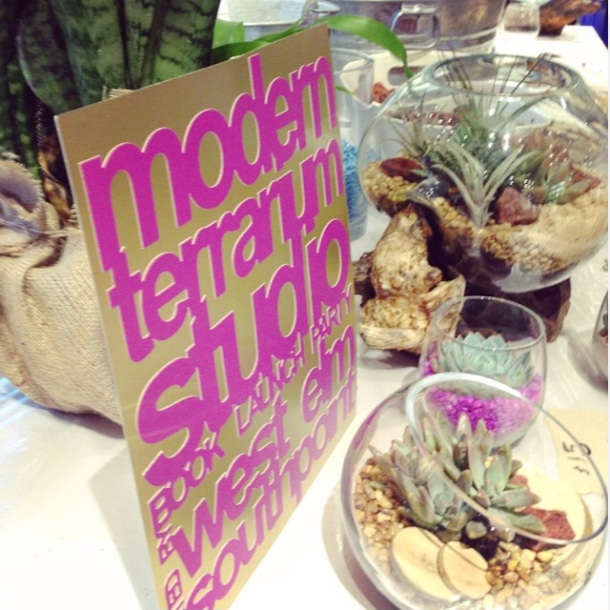 modern terrarium studio book party at west elm, durham nc